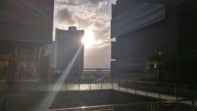 Заход солнца в моле центра города Майами Brickell Стоковая Фотография