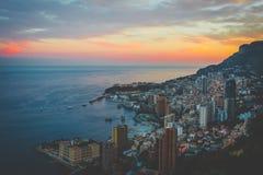 Заход солнца в Монте-Карло, Монако стоковое изображение