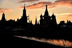 Заход солнца в Москве, красной площади стоковое фото rf