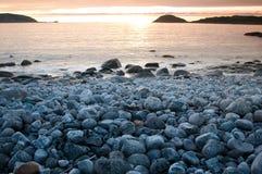 Заход солнца в Норвегии Стоковые Фотографии RF