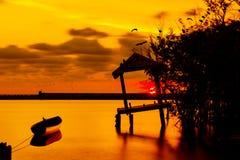 Заход солнца в озере Стоковое Изображение