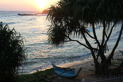 Заход солнца в океане стоковые изображения rf