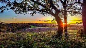 Заход солнца в осени Стоковое Изображение