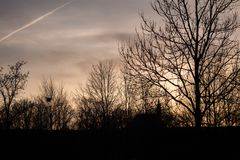Заход солнца в парке курорта в плохом Koetzting, Баварии Стоковая Фотография