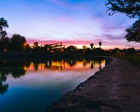 Заход солнца в парке Стоковая Фотография RF
