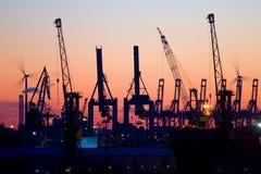 Заход солнца в порте Гамбурга Стоковое фото RF