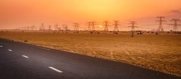 Заход солнца в пустыне около Дубай стоковые фото