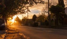Заход солнца в селе стоковые фото