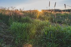 Заход солнца в середине гор Стоковое Фото