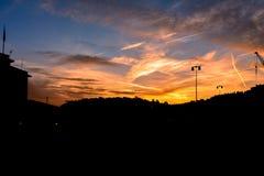 Заход солнца в славном Стоковые Изображения RF