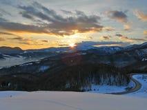 Заход солнца в Словакии стоковое фото rf