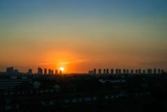 Заход солнца в столице Стоковое Фото