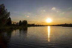 Заход солнца в тростниках Стоковая Фотография RF