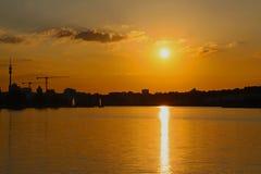 Заход солнца в тростниках Стоковые Изображения