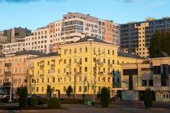 Заход солнца в центре самары бывшего Куйбышев Стоковые Фотографии RF