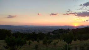 Заход солнца в Assisi, Италии стоковые изображения