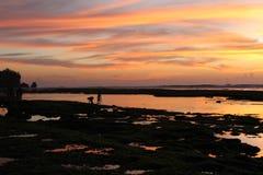 Заход солнца в Bingin стоковое изображение rf
