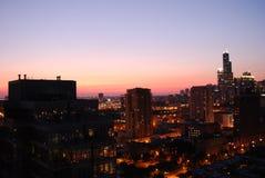 Заход солнца в chicago Стоковые Фотографии RF