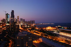 Заход солнца в chicago Стоковые Изображения RF