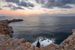 Заход солнца в Ibiza Стоковая Фотография RF