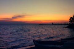 Заход солнца в kalamaria, thessaloniki Стоковое Фото