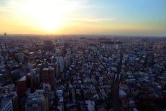 Заход солнца в Setagaya-ku, токио, Японии Стоковая Фотография