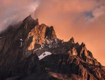 Заход солнца в Torres del Paine стоковое изображение rf