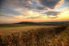 Заход солнца в wolds Стоковое Фото