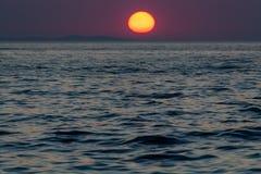 Заход солнца в Zadar Хорватии стоковая фотография