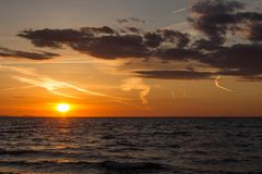 Заход солнца в Zadar, Хорватии стоковое изображение