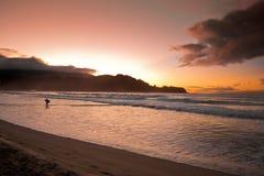 заход солнца Гавайских островов превосходный Стоковое Фото