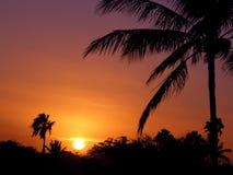 заход солнца Гавайских островов стоковые изображения