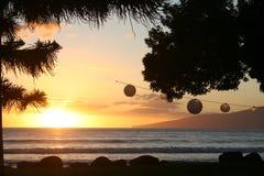 заход солнца Гавайских островов maui Стоковое фото RF