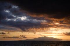 заход солнца Гавайских островов maui Стоковая Фотография RF