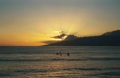 заход солнца Гавайских островов maui Стоковые Изображения RF