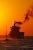 заход солнца гавани Стоковое Изображение