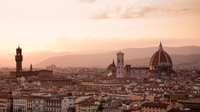 заход солнца горизонта florence Италии стоковые фотографии rf
