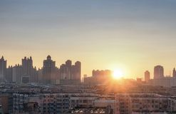 Заход солнца города в Китае, Харбин стоковая фотография