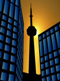 заход солнца города Стоковое Изображение RF
