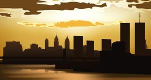 заход солнца города иллюстрация вектора
