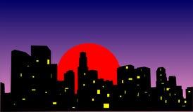 заход солнца города бесплатная иллюстрация
