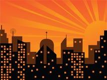 заход солнца города иллюстрация штока