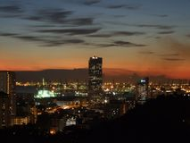 заход солнца городского пейзажа Стоковое Изображение