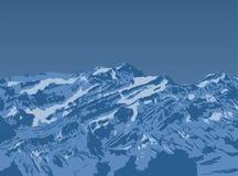 Заход солнца горы верхний Реалистическая предпосылка ландшафта вектора Нарисованное вручную изображение Стоковая Фотография RF