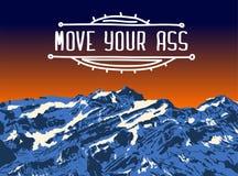 Заход солнца горы верхний Реалистическая предпосылка ландшафта вектора Нарисованное вручную изображение ДВИНЬТЕ ВАШЕГО ИШАКА подп Стоковое Изображение RF
