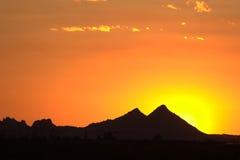 заход солнца горы зарева Стоковая Фотография RF