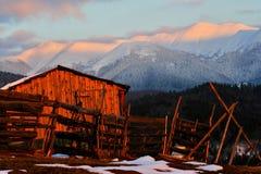 заход солнца горы ландшафта Стоковое Изображение RF