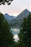 заход солнца горы озера Стоковое Изображение RF