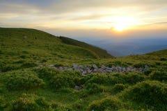 заход солнца горы стоковое изображение rf