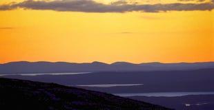 заход солнца горы cadillac стоковые изображения